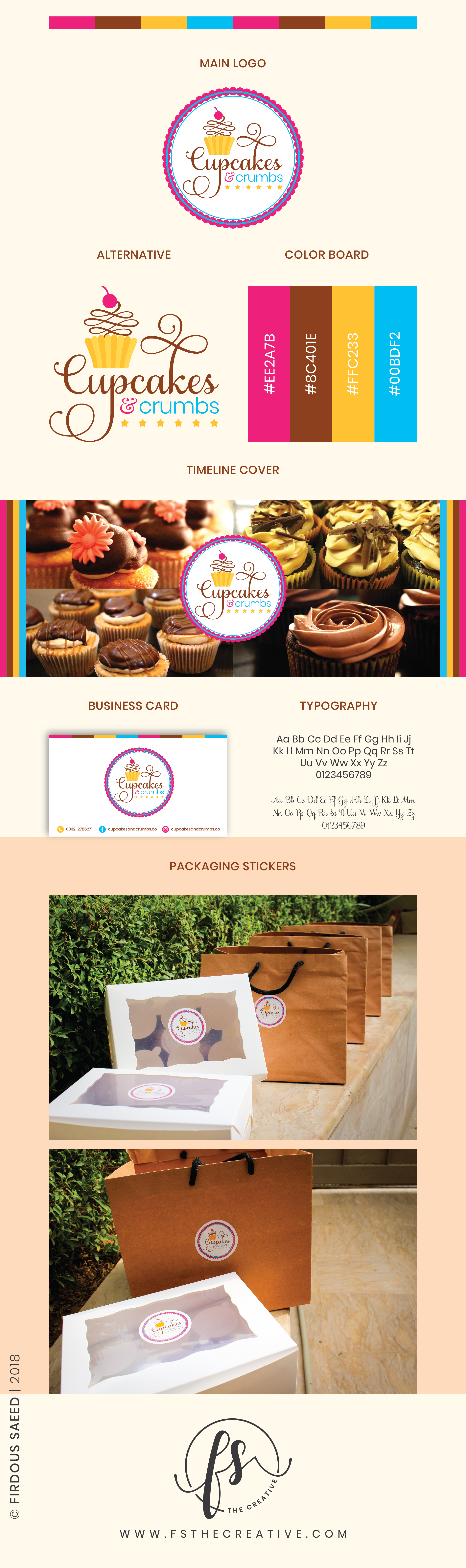 Cupcakes and Crumbs Pakistan. Brand Identity Design by FS - The Creative